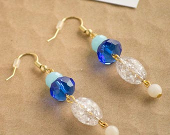Baby Blue Royal Blue Clear Color Block Drop Earrings