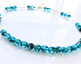 Cerulean Blue with Gold Detail Beaded Necklace