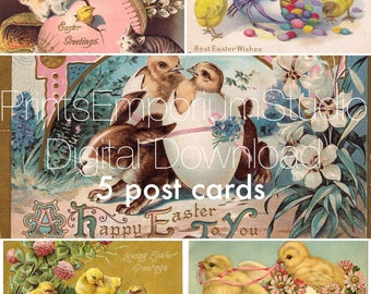 Easter post card Happy Easter Vintage Retro print decoupage Antique Art Print Collectable Wall Decor Print-it-Yourself instant Download