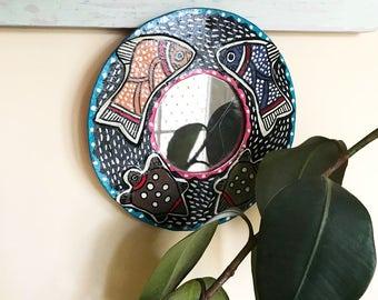 Round Hand Painted Decorative Mirror Art