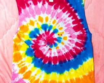 90s Vintage Rainbow Tie Dye Cut Off Tank Top / Vintage Rainbow Tie Dye Top