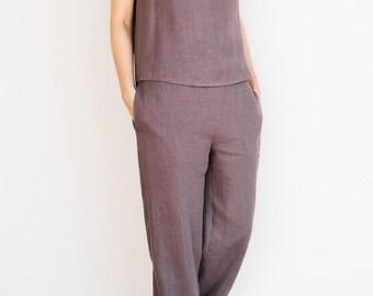 Linen sleeveless top / Linen pajama shirt / Linen blouse / Linen sleepwear