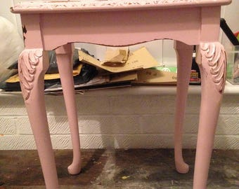 Shabby chic pink side table
