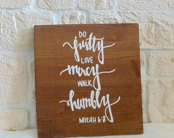 """Wooden sign """"do justly"""" (handmade)"""