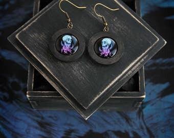 "Wooden earrings ""The minion"""