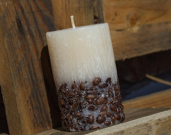 Coffee Beans Candle. Coffee Scented Candles. Beige Pillar. Gift for Men, Birthday Present, Gift for friend.