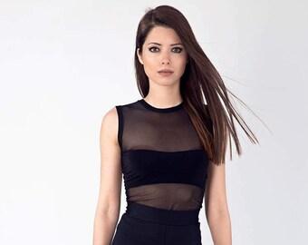 Sheer back top, See through blouse, Transparent dress, Elastane, Body con dress, Sheer mesh dress, Markiiza, Tulle blouse, Black mesh top