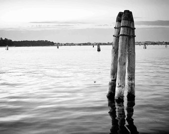"Black&white Venetian Lagoon Digital Printable Art 300dpi 24x36 and 8x12 ""VENETIAN PEACE"" Travel photography"