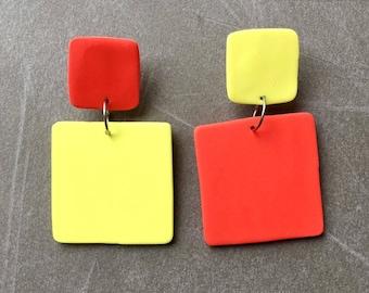 Citrus Fizz/Orange and Lemon/Polymer Clay/Drop Earrings