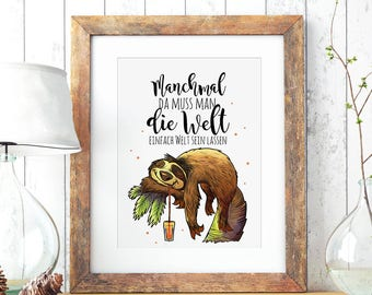 A3 Print Illustration Poster Sloth P64