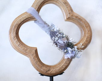 newborn headband with grey flowers, beads, on grey chiffon tieback/ newborn headband/children's headband/girls headband