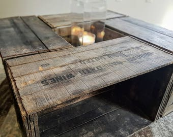 Antique Wine Box Coffee Table From 1955