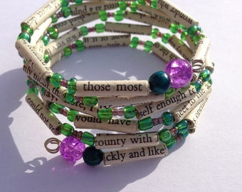 Purple and Green Sense and Sensibility Book Bead Bracelet