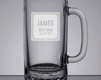 Groomsmen Beer Mugs, Etched Beer Mug, Best Man Gift, Custom Wedding, Father of the Groom, Custom Pint, Sandblasted Glass, Groomsman Gift