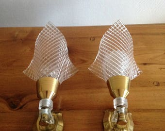 Pair of brass wall lights and plastic / vintage
