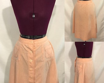 1970's | College Town | orange A-line skirt