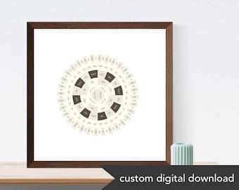 Natural Hued Custom Genealogy Family Tree Chart (Circle Genealogy Chart or Fan Chart)
