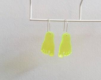Clear-Yellow Feet Earrings