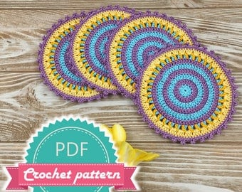 Crochet Pattern Coasters, Easy Crochet Pattern, Mandala Pattern, Diy Coasters, Crochet Placemat, Small Dreamcatcher, Teapot Coaster