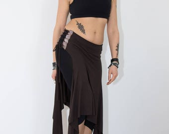Skirt-leather inset Skirt, tribal fusion, bellydance for workout and lifestyle, one size (comfortable fabric from XS-L)