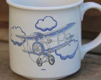 Hot Air Balloon Mug - Bi Plane Mug - Airplane Mug - Vintage Stoneware Mug - Vintage Air Balloon - Vintage Airplane -  Air Plane Coffee Cup