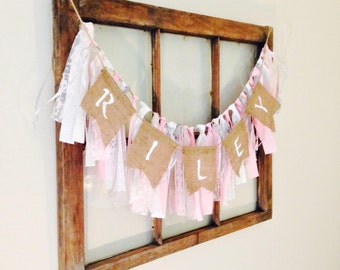 Name Banner / Fabric Garland / Nursery Decor / Photo Shoot Prop / Baby Shower Banner / Shabby Chic Decor / Custom Burlap Banner