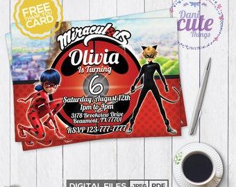 Miraculous Ladybug Invitation - Miraculous Ladybug Birthday Invitation - Miraculous Ladybug Birthday -Miraculous Ladybug Party -DIGITAL FILE