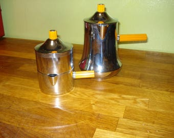 PRICE REDUCED!  Art Deco Farberware Chrome Coffee Service with Bakelite Stick Handes