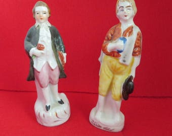 Porcelain Hand Painted Made in Japan Figurines, Two Colonial Men Decorative Figures