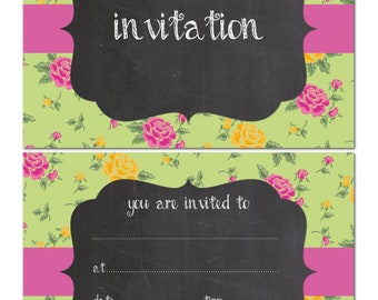 Party Invitations - Vintage chalkboard effect - 24 x A6 postcard size cards - suitable for any celebrations! (With Envelopes)