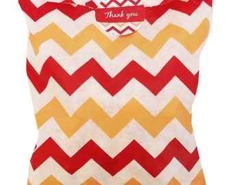 Chevron party bags red/cream/white with 30mm thank you stickers - 24 of each