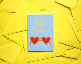Blue Greeting Card Hello Sunshine A6 with yellow envelope Baby Summer Sun Sunglasses Invitation Party