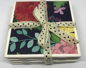 Ceramic Tile Coasters | Set of 4 Spring Flower Pattern