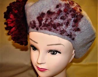 Grey felt beret decorated with flower Dahlia.