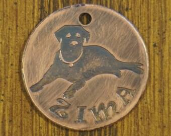 "Custom Etched Labrador Copper Pet Tag 1.25"""