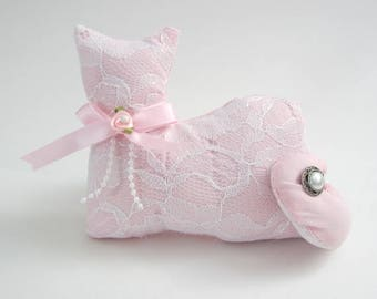 Pink Lace Cat, Cat Shelf Sitter, Pillow Tuck, Shabby Cottage Chic, Cat Shape Pillow, Pink Rose, Kiitten Shelf Sitter, Cat Doll
