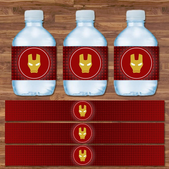 Iron Man Drink Labels - Iron Man Water Bottle Labels - Red & Gold Logo - Iron Man Birthday - Iron Man Party Printables - 9.75 x 1.25 Inches