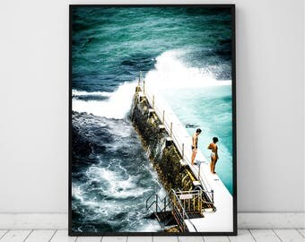 Ocean Art Print, Waves, Water, Coastal Wall Decor, Beach Art, Large Printable Poster, Digital Download, Pool Wall Decor, Turquoise Blue