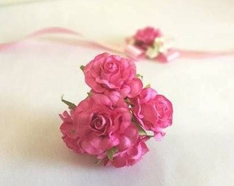 50 Handmade Mulberry Paper Flowers  Pink Wedding Rose Code: R02