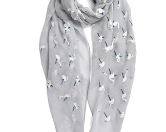 Adorable Embroidered Swan Printed Cotton Scarf