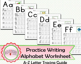 Preschool Toddler Practice Writing Alphabet with Tracing Guide Worksheet Kindergarten Learn Letters A-Z Handwriting Printable Activity Sheet