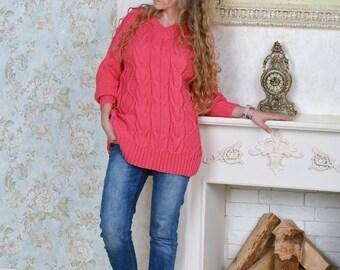 Hot Pink women's short oversize pullover