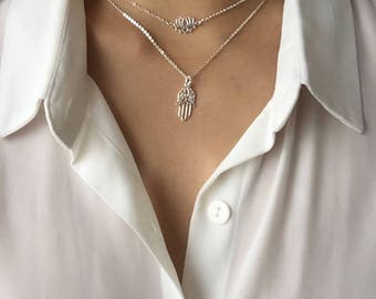 Lotus charm necklace, dainty chain necklace, layered necklace, delicate necklace, chain necklace, silver necklace, charm necklace