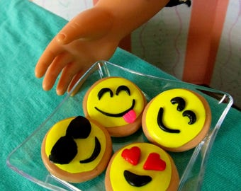 American Girl Emoji Food, Cookies for 18 Inch Dolls for Birthday Party or Bakery with Serving Tray, Miniature Doll Accessories, Emoji Party