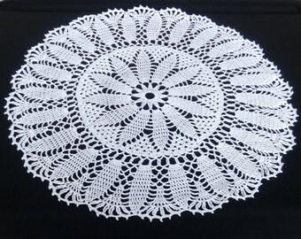New white crochet doily 20 inches