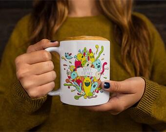 Happy Freaks Mug Geeky Coffee Mug Funny Gift Mug Monsters Mug Witty Novelty