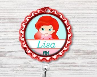 Princess Nurse Badge Reel | Nurse Bottle Cap Badge Reel | Badge Reel | Bottle Cap Retractable Badge Reel | Nurse Badge Reel | CNA Badge