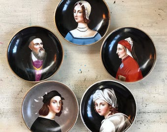 Richard Ginori Porcelain Plates | Made in Italy | Hand Painted Portraits