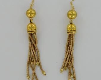 Hollywood Vintage Gold Tassel Earrings