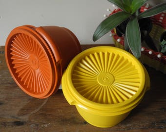 French vintage Tupperwares - Yellow/orange